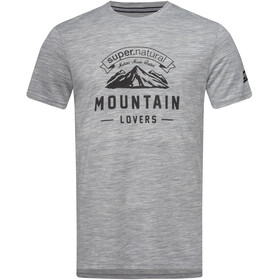 super.natural Graphic Tee Mountain Lovers Herr ash melange/jet black